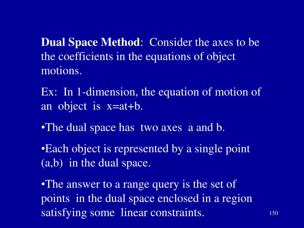 Dual Space Method