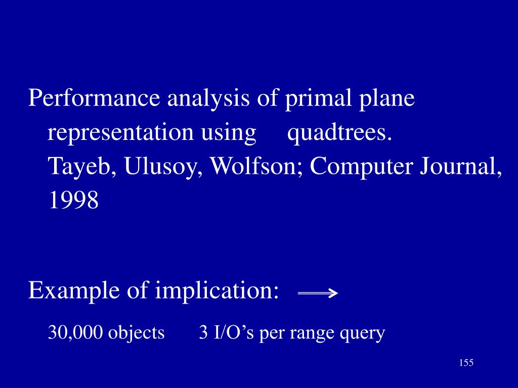 Performance analysis of primal plane representation using quadtrees.