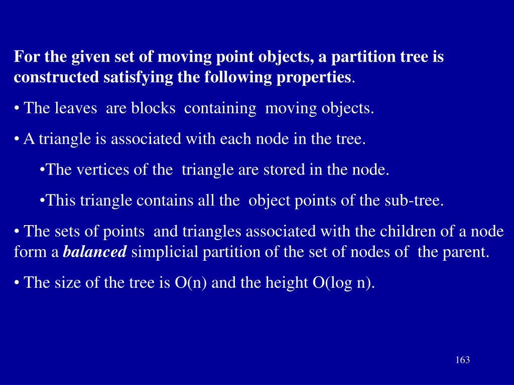 For the given set of moving point objects, a partition tree is constructed satisfying the following properties
