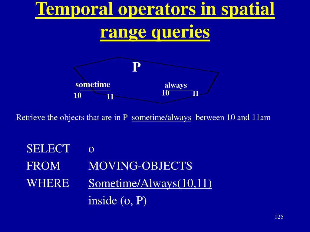 Temporal operators in spatial range queries