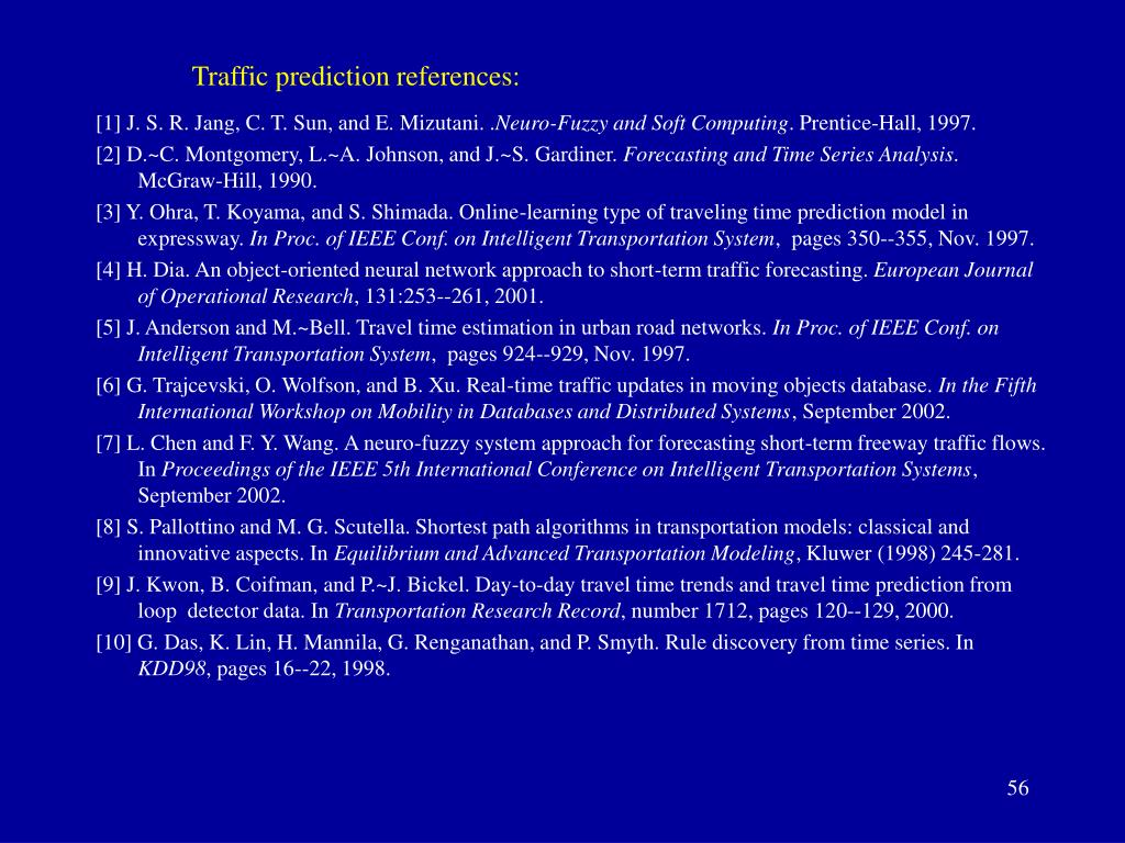Traffic prediction references: