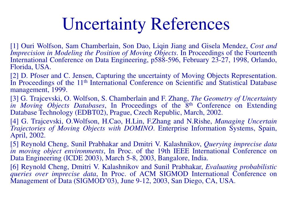 Uncertainty References