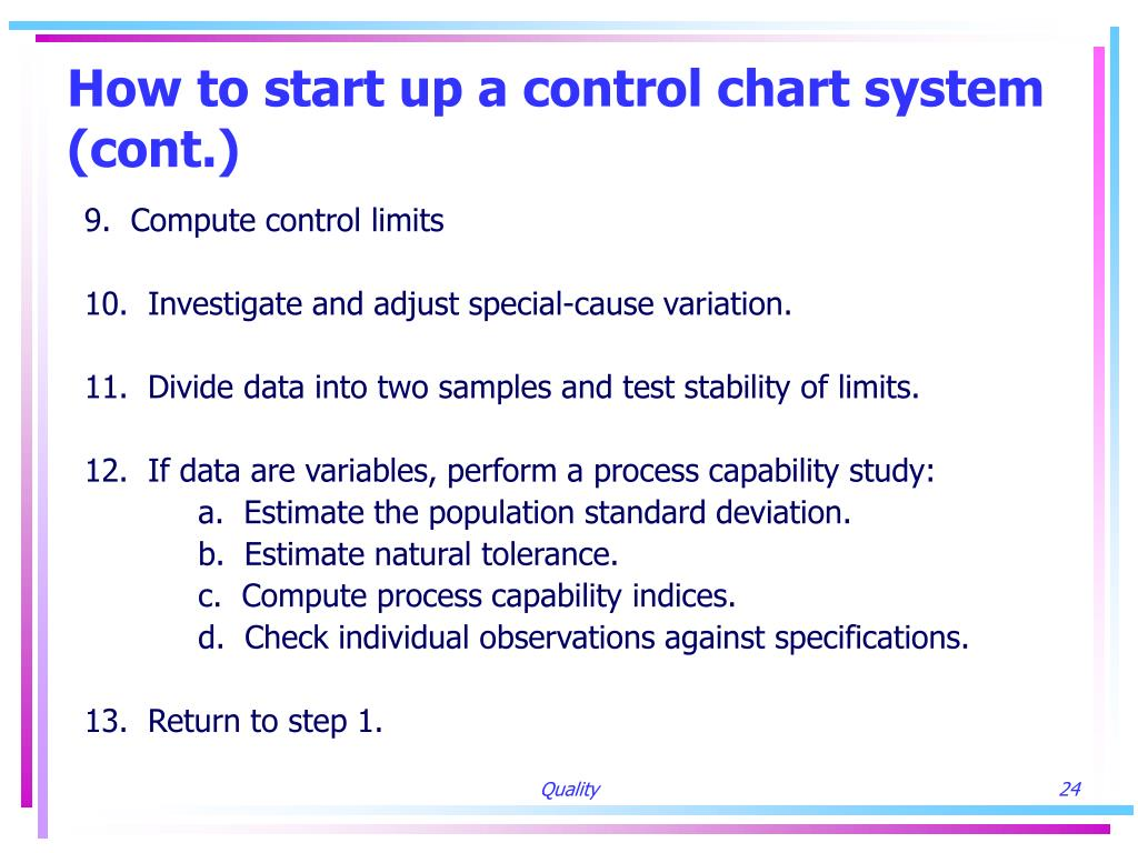 How to start up a control chart system (cont.)