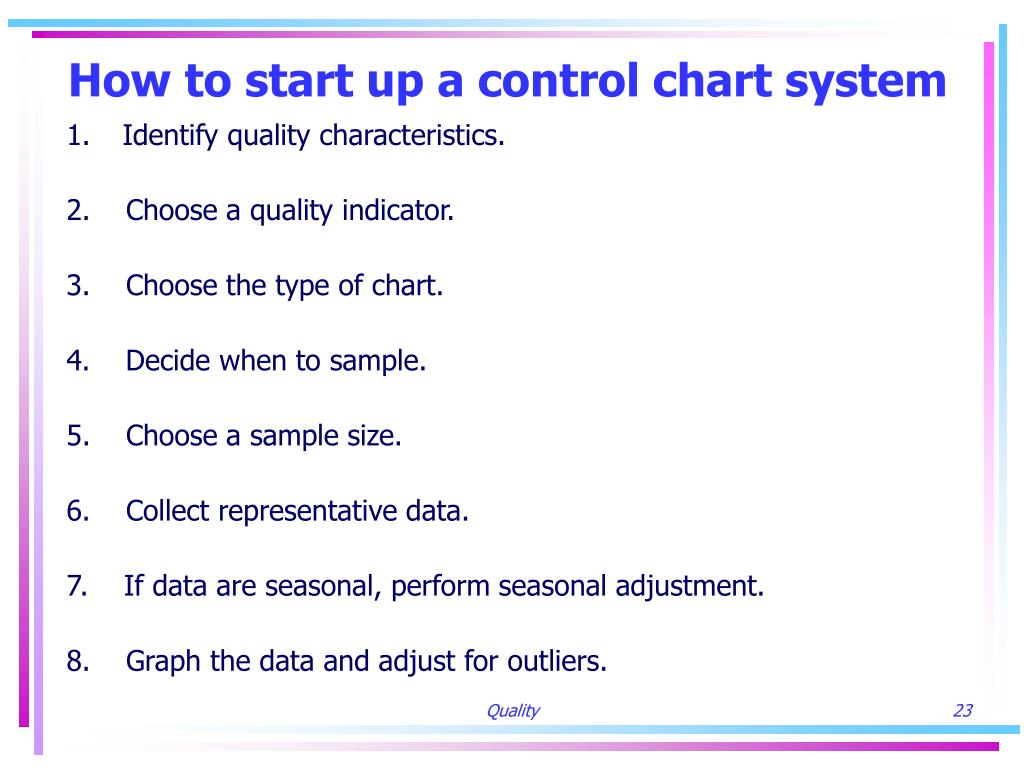 How to start up a control chart system