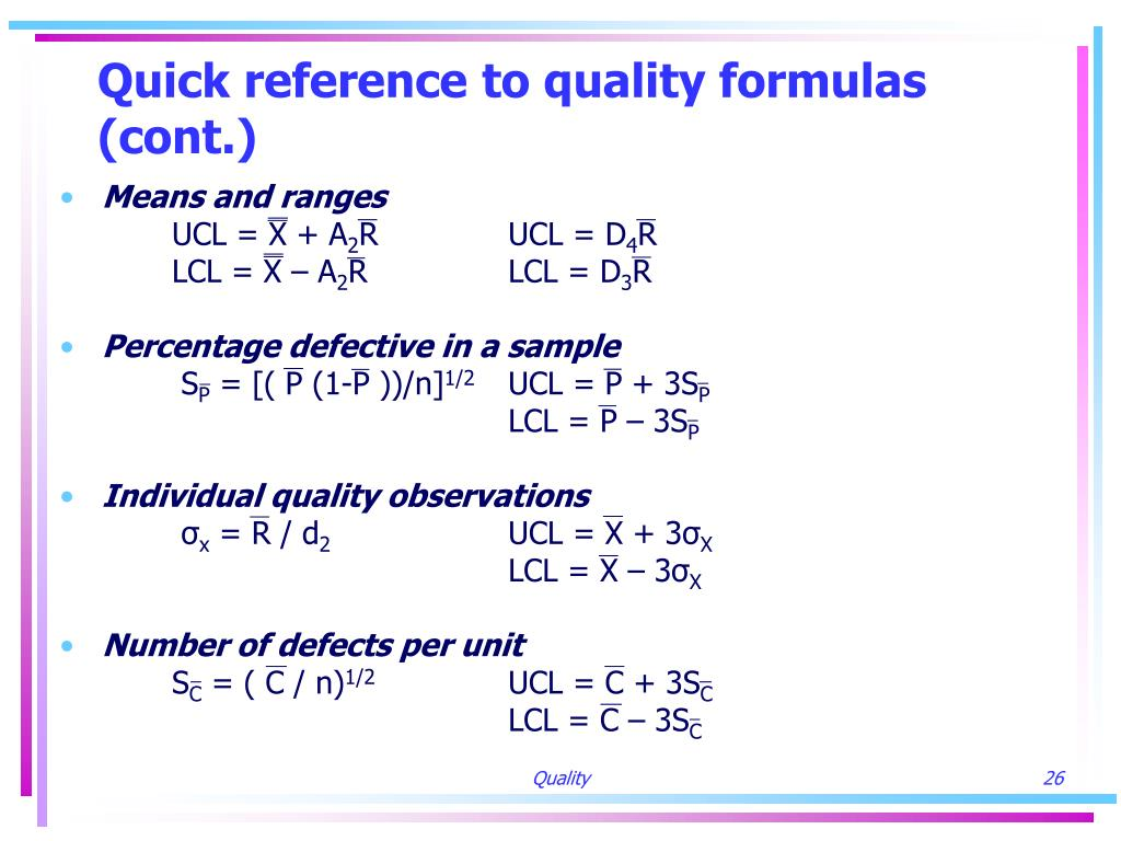 Quick reference to quality formulas (cont.)