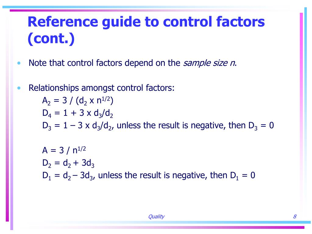 Reference guide to control factors (cont.)