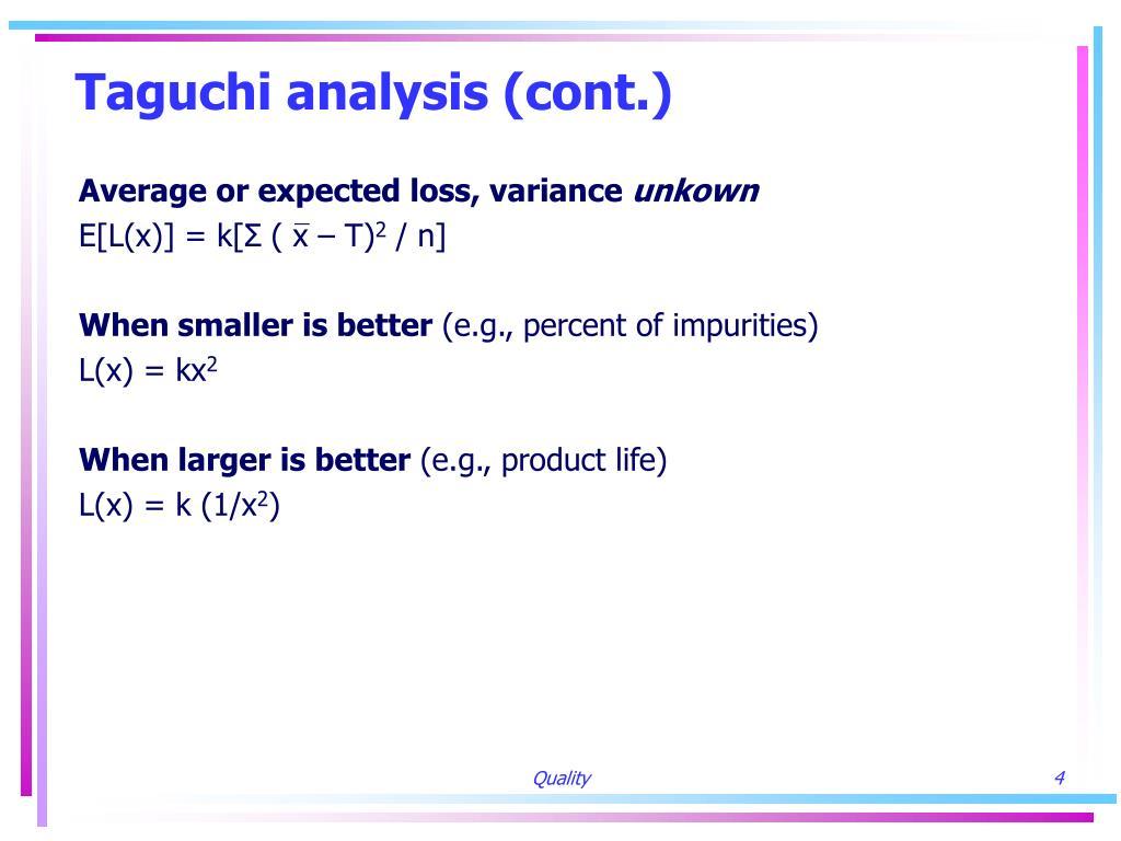 Taguchi analysis (cont.)
