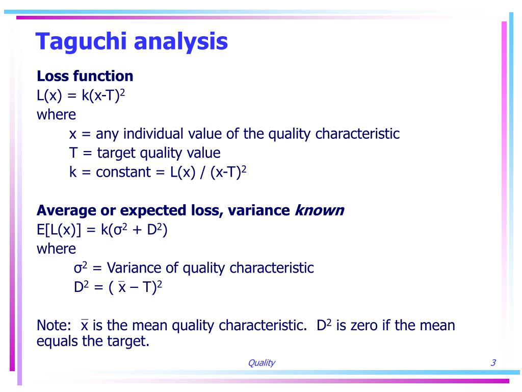 Taguchi analysis