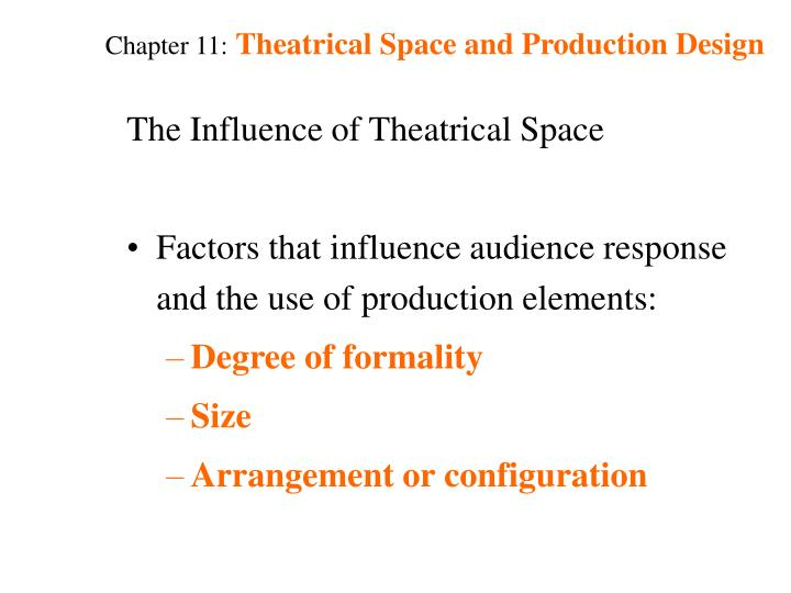 Chapter 11 theatrical space and production design