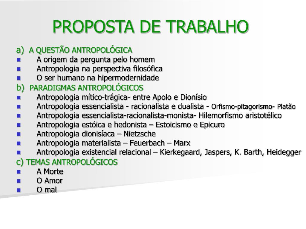 PROPOSTA DE TRABALHO