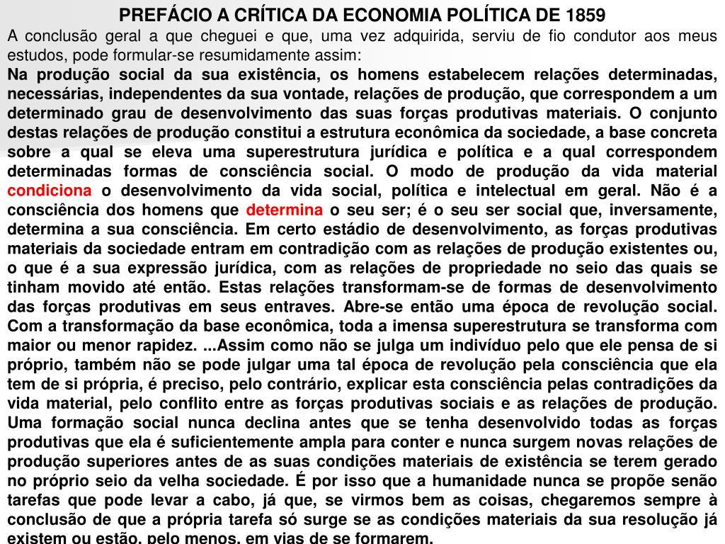 PREFÁCIO A CRÍTICA DA ECONOMIA POLÍTICA DE 1859