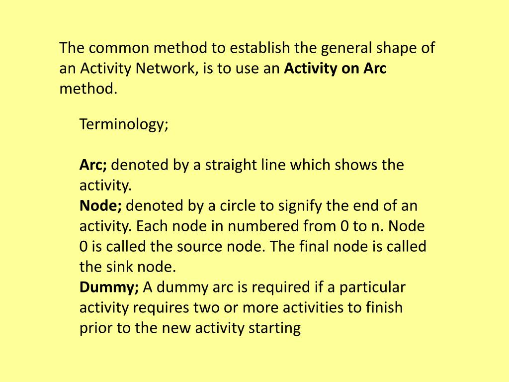 The common method to establish the general shape of an Activity Network, is to use an