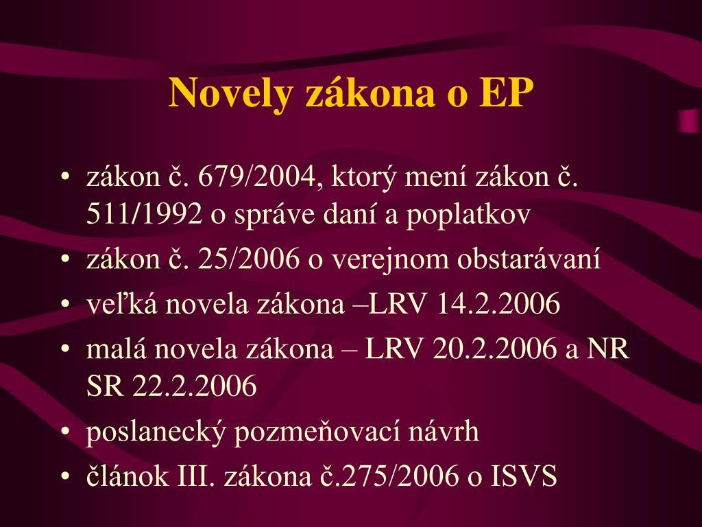 Novely zákona o EP
