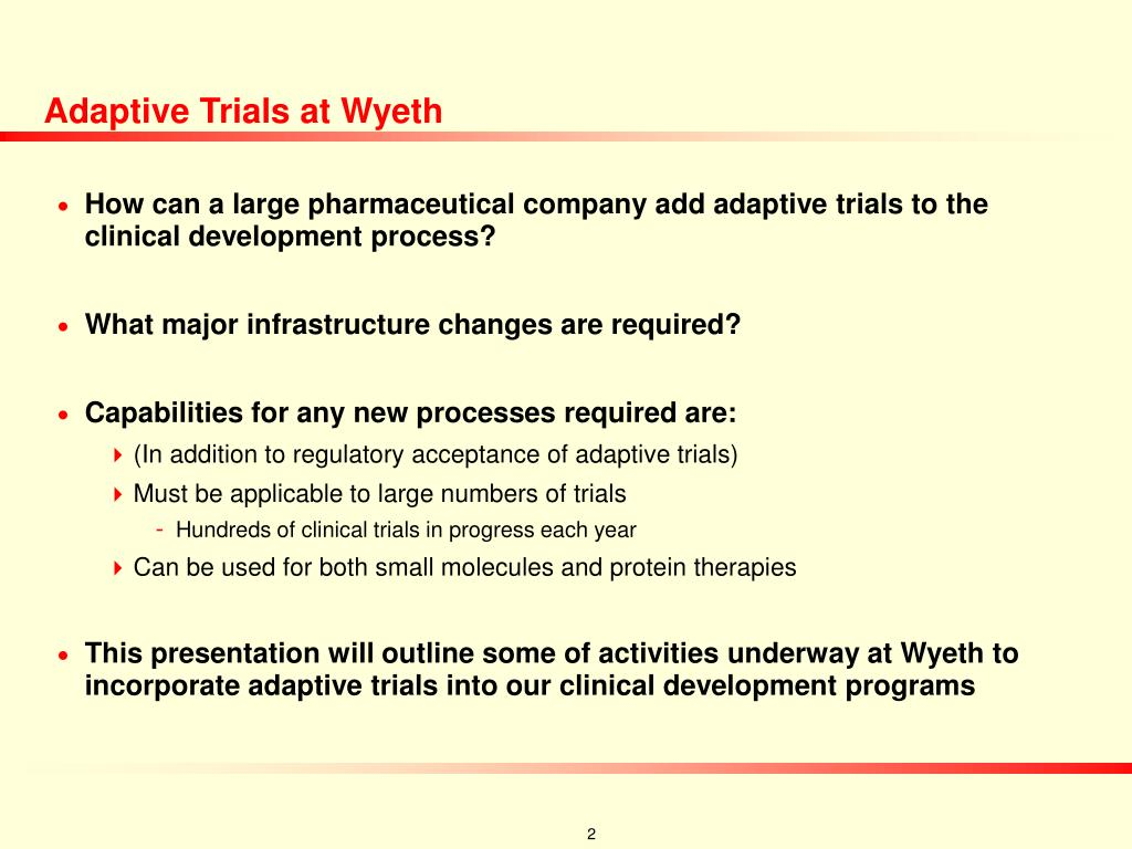 Adaptive Trials at Wyeth