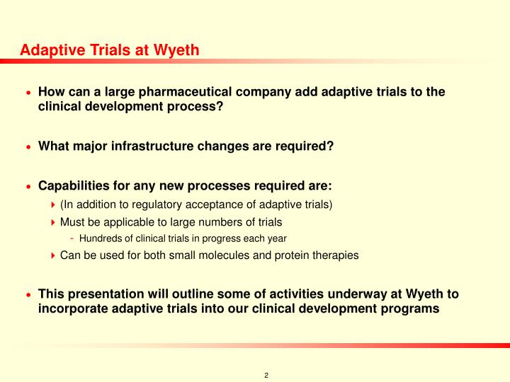 Adaptive trials at wyeth l.jpg