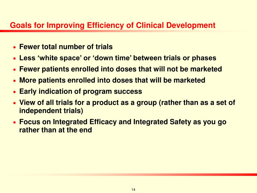 Goals for Improving Efficiency of Clinical Development