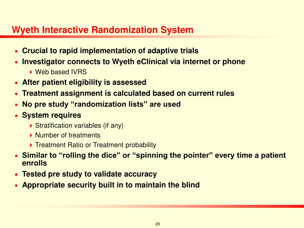 Wyeth Interactive Randomization System