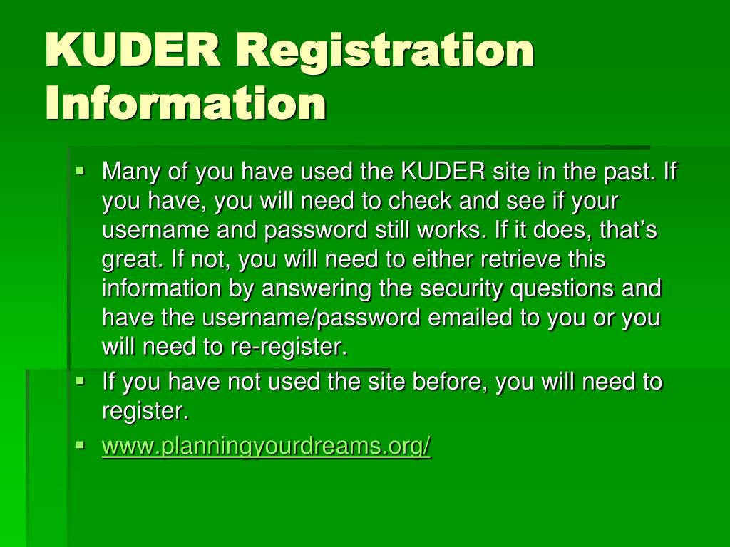 KUDER Registration Information