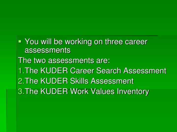You will be working on three career assessments