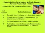 example multiple performances for single standard personal finance math hs level