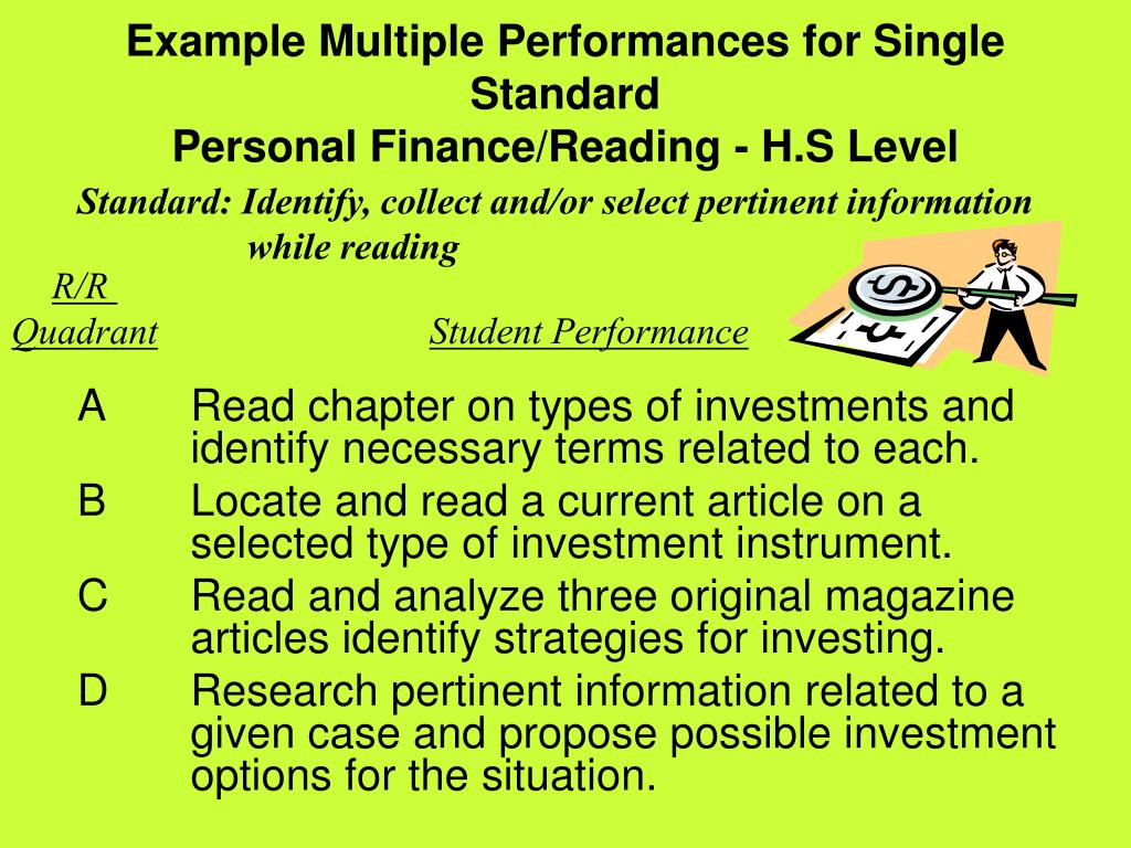 Example Multiple Performances for Single Standard