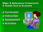 rigor relevance framework a useful tool to evaluate