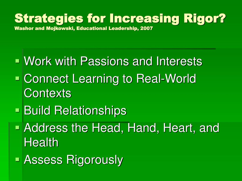 Strategies for Increasing Rigor?