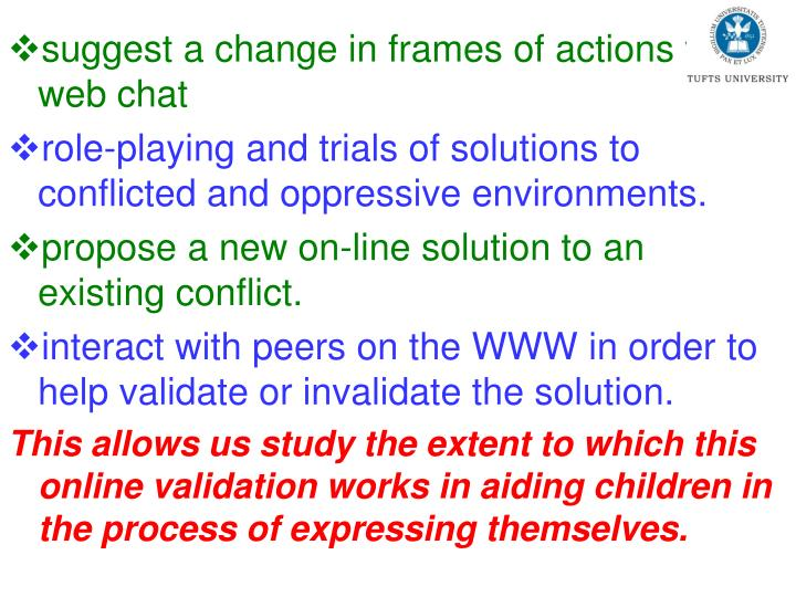 suggest a change in frames of actions via web chat