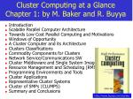 cluster computing at a glance chapter 1 by m baker and r buyya