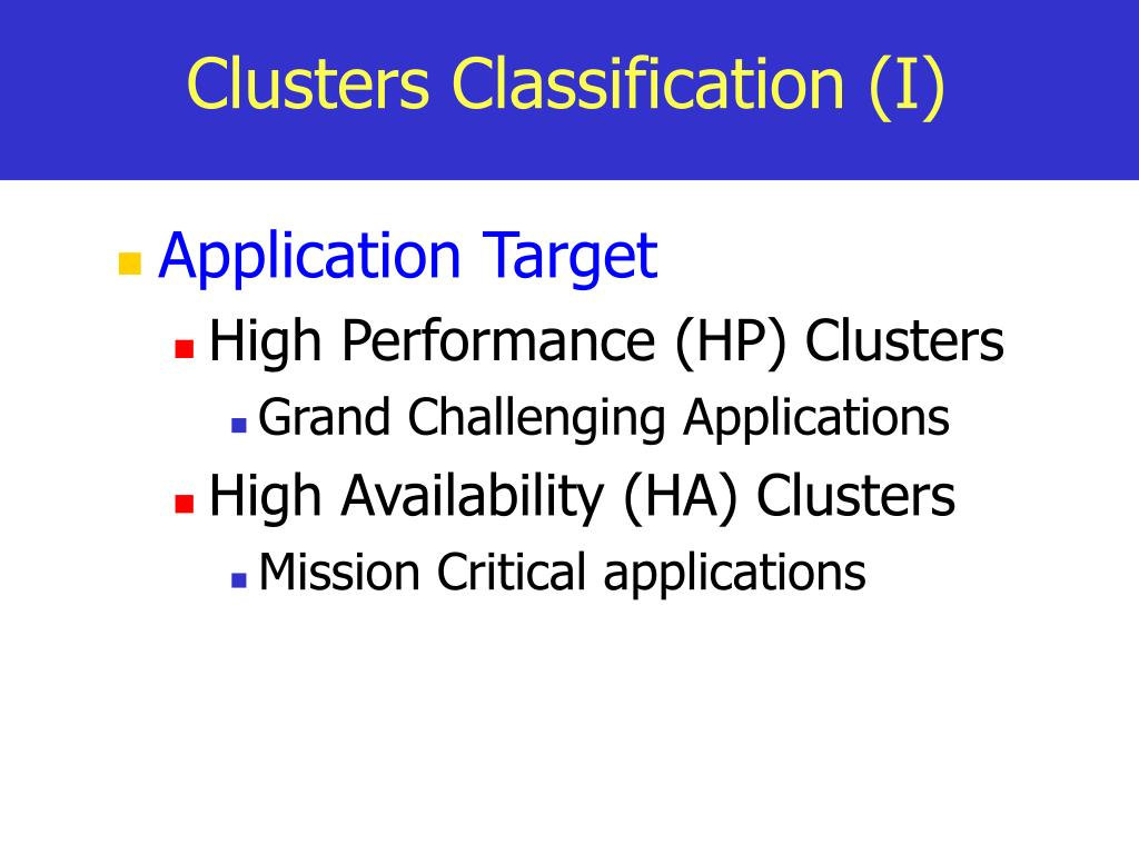 Clusters Classification (I)