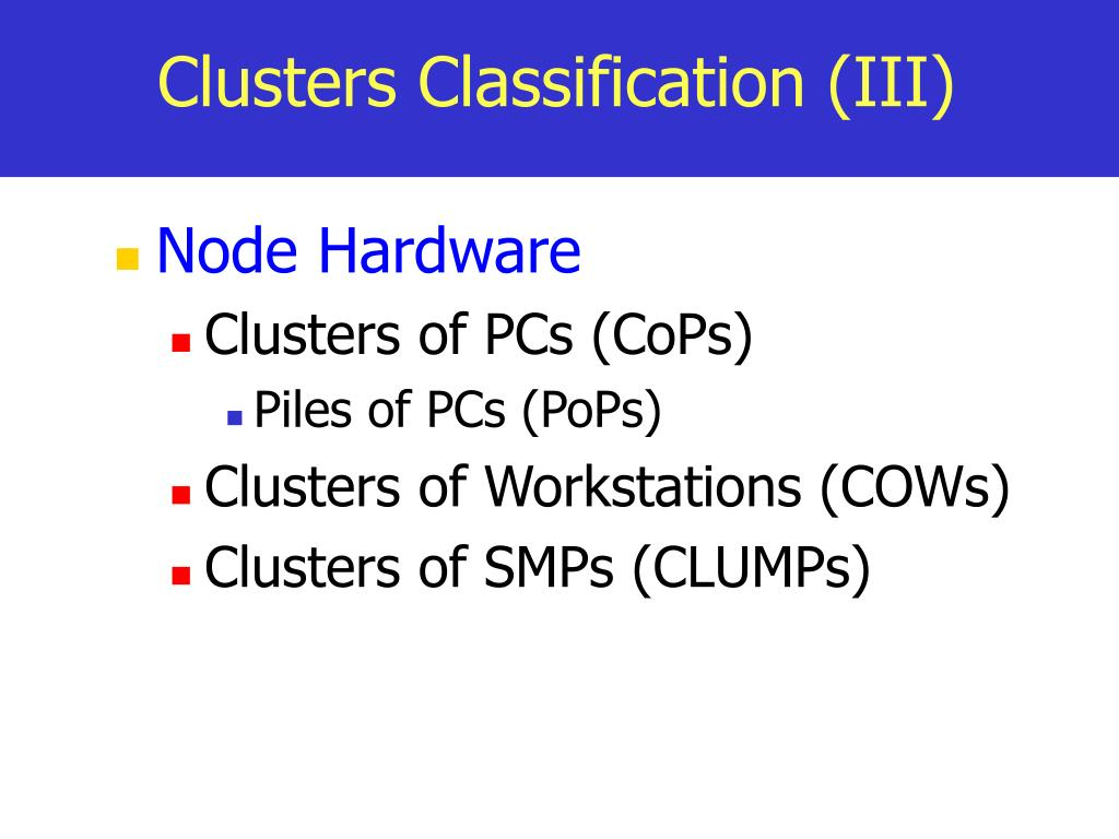Clusters Classification (III)