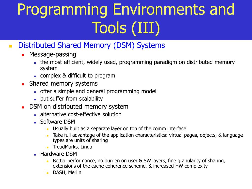 Programming Environments and Tools (III)