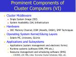 prominent components of cluster computers vi