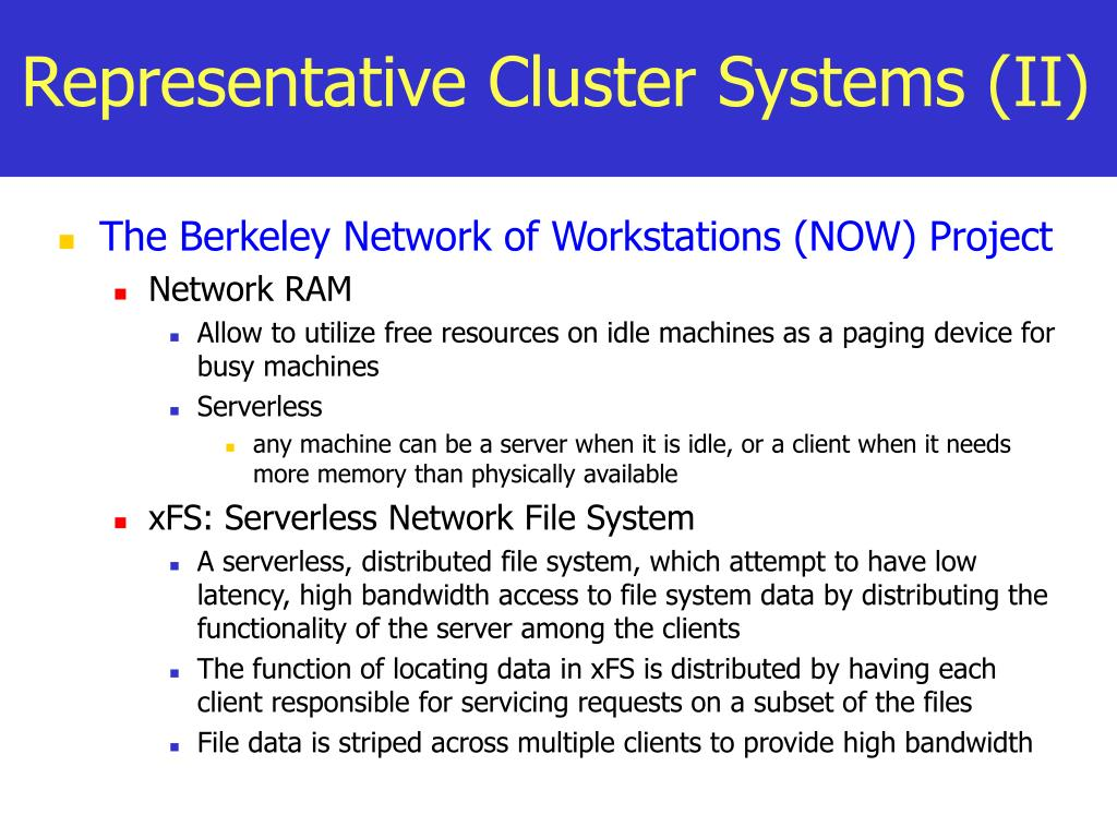 Representative Cluster Systems (II)
