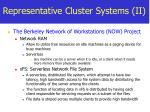 representative cluster systems ii