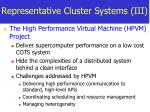 representative cluster systems iii