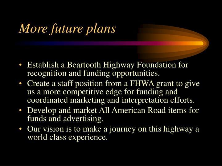 More future plans