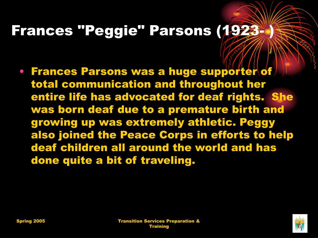 """Frances """"Peggie"""" Parsons (1923-)"""