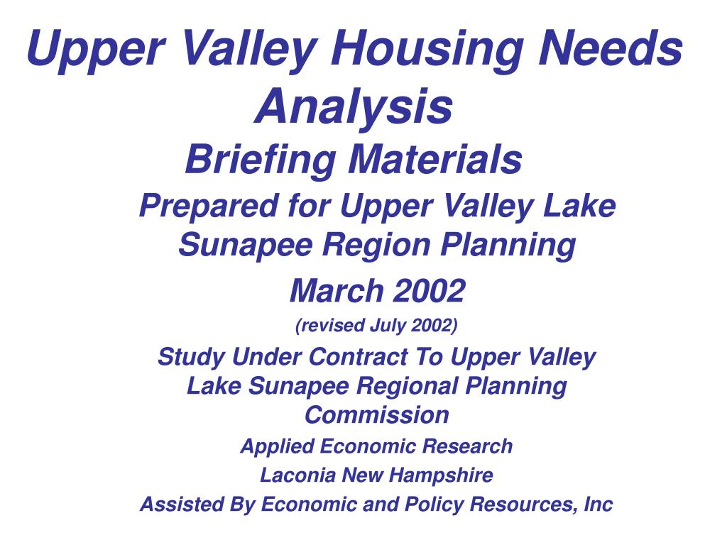Upper Valley Housing Needs Analysis
