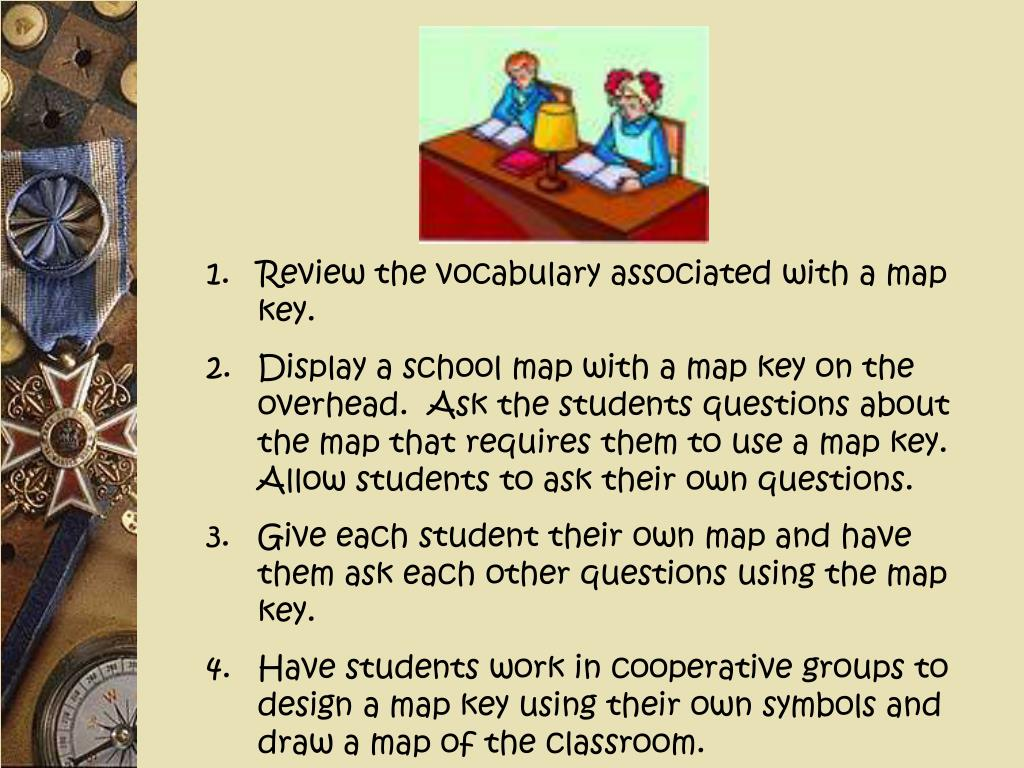 Review the vocabulary associated with a map key.
