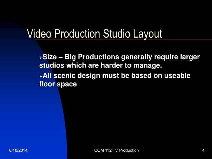 Video Production Studio Layout