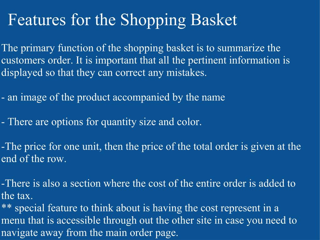 Features for the Shopping Basket