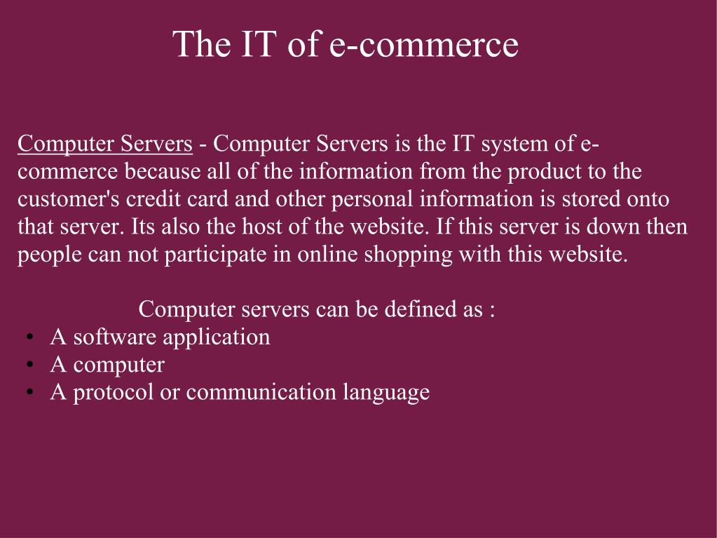The IT of e-commerce