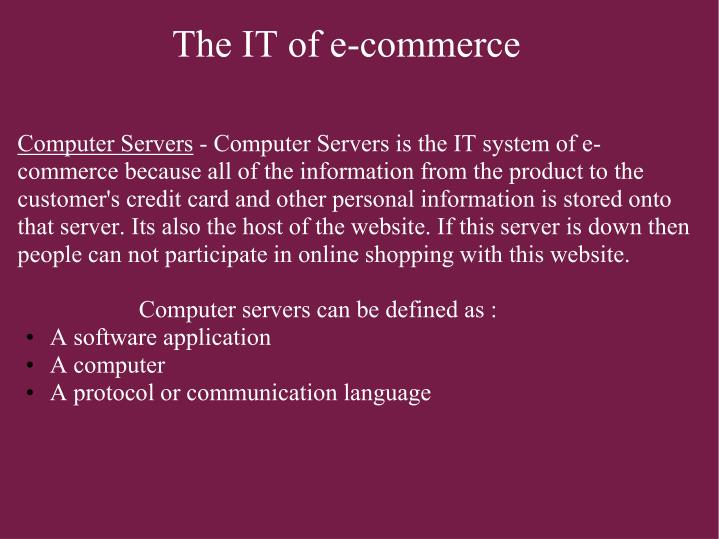 The it of e commerce