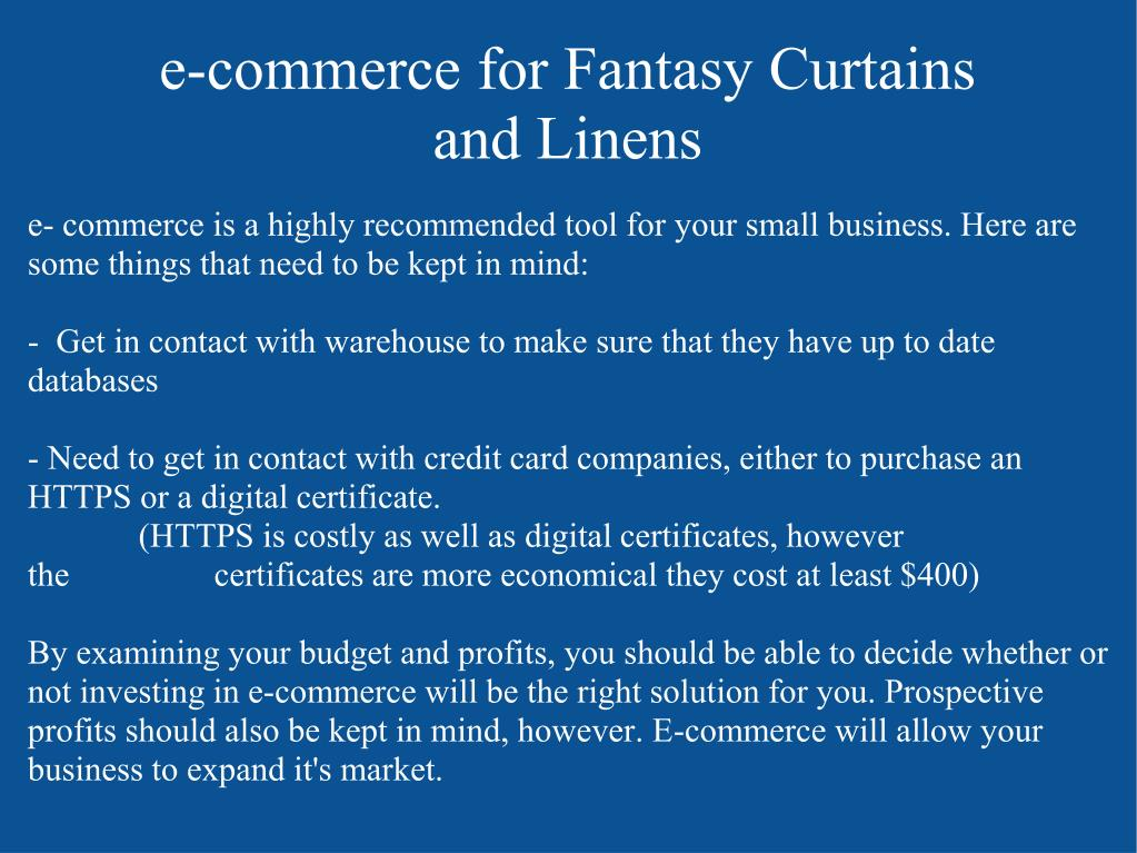 e-commerce for Fantasy Curtains and Linens