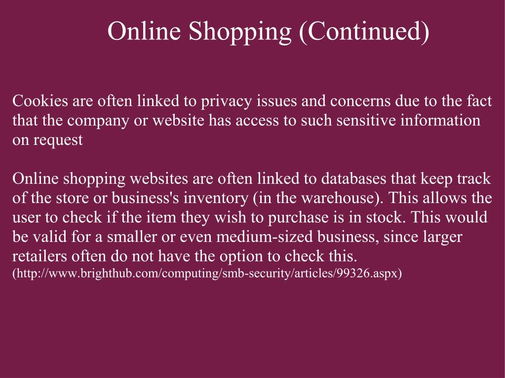 Online Shopping (Continued)
