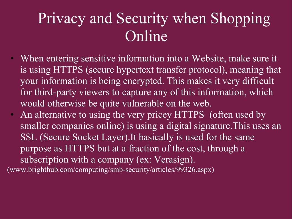 Privacy and Security when Shopping Online