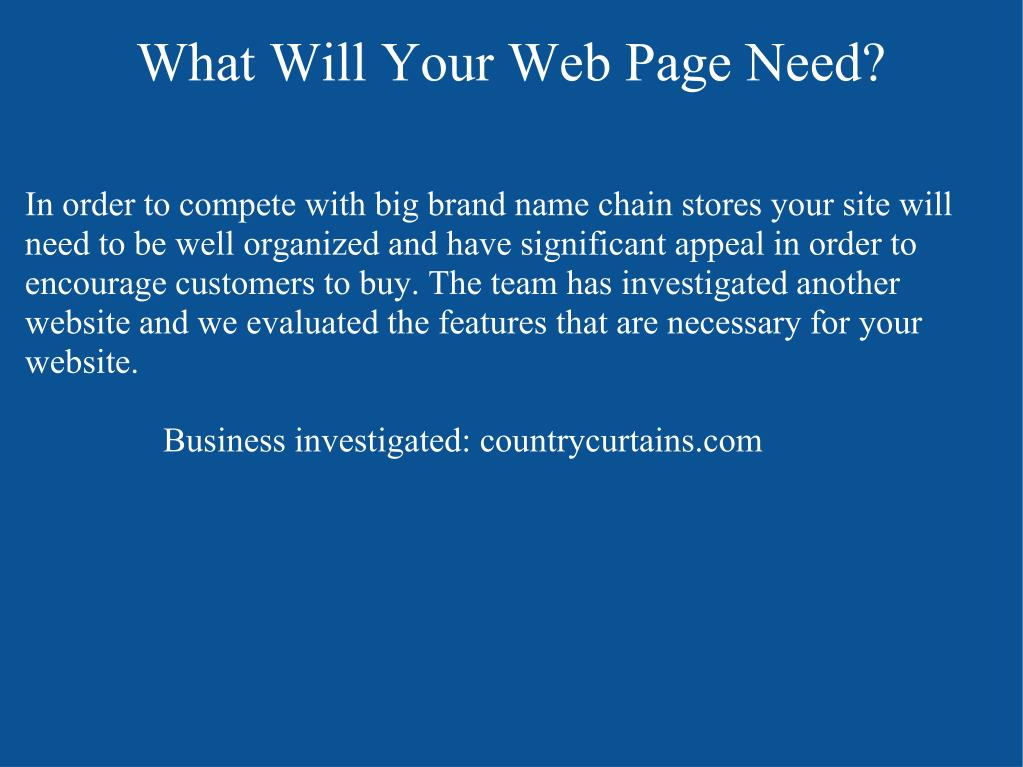 What Will Your Web Page Need?