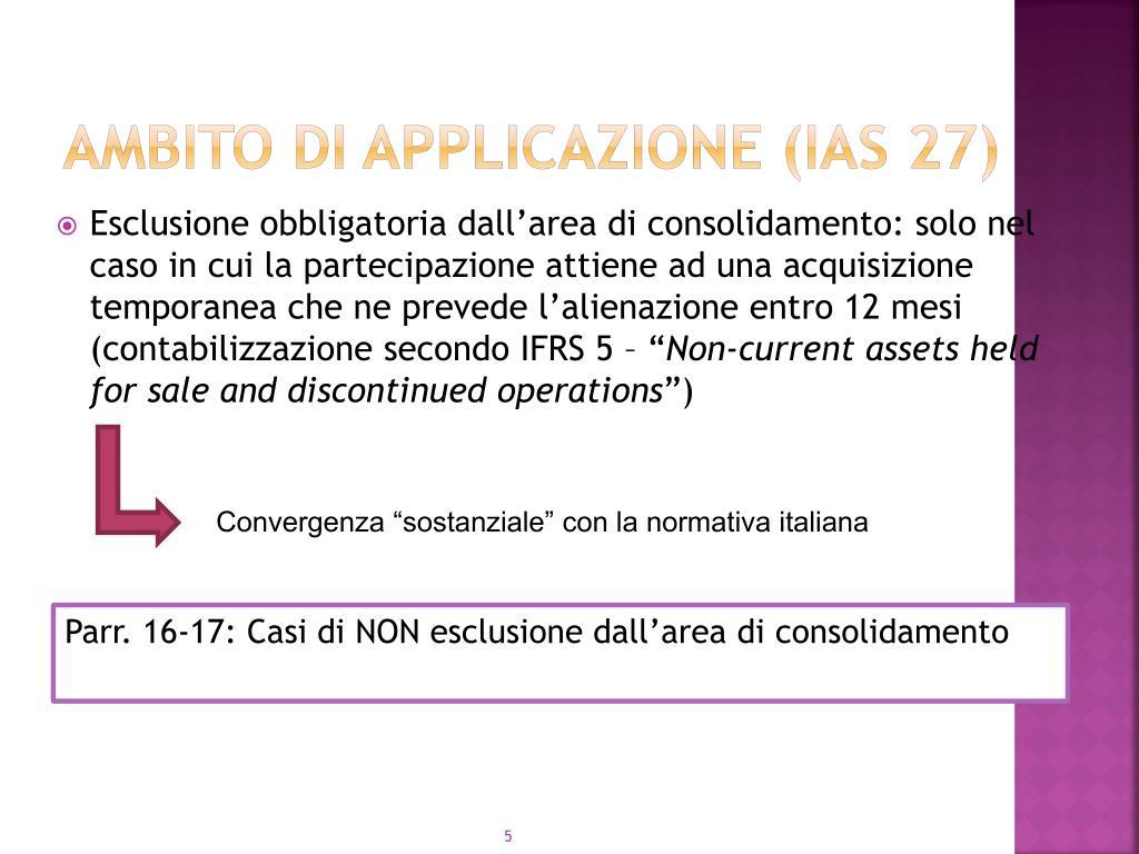 Ambito di applicazione (IAS 27)