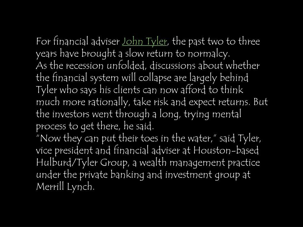 For financial adviser